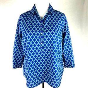 Lands' End Blue Green Cotton Moroccan Shirt 16P